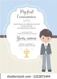 My first communion invitation vertical. Boy invitation with cute frame