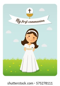 My first communion reminder on blue sky background