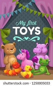 My First Toys. Group of stuffed animals. Cute childish vector illustration.