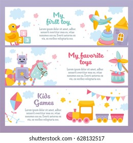 My first toys horizontal banner set. Cute illustration for kids. Funny robot, little unicorn, ball, toy train. For a children's banner, slider, flyer. Place for text.