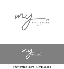 MY Initial letter handwriting and signature logo.