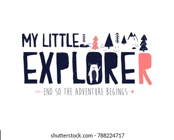 my little bear slogan and forest illustration vector.