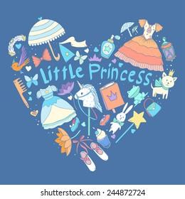 My little princess heart shape. Vector illustration