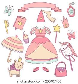 My little princess set. Cute vector clip art