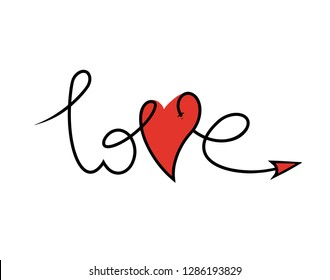 my love. Valentine's Day. stylized inscription by hand and the letter V in the shape of a heart, the concept of love and loyalty.