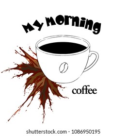 My morning coffee vector illustration with splash
