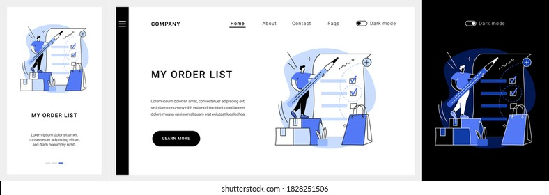 My orders list website UI kit. Shopping list ID, customer name, add items to cart, ecommerce website menu, online store, curbside pickup, shopping cart landing and mobile app vector UI template.