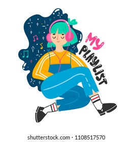 My playlist. Cute girl with headphones. Colored vector illustration