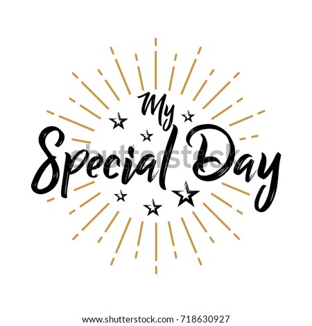 My Special Day Fireworks Message Quote Stock Vector (Royalty Free