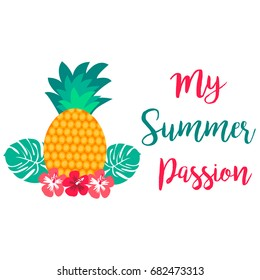 My Summer passion card with juicy pineapple and flowers