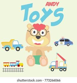 my toys, vector cartoon illustration