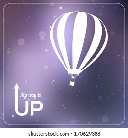 """""""My way is UP"""" hot air balloon vector illustration. White silhouette in vibrant sparkling violet background"""