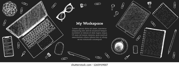 My workspace. Office desk table top view sketch. Workspace with laptop, smartphone, notebook, coffee cup, plant, pencil, glasses. Hand drawn vector illustration. Business concept