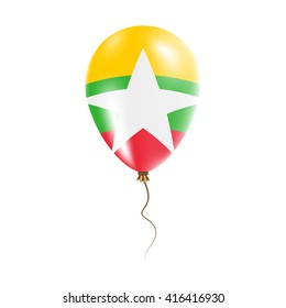 Myanmar balloon with flag, stars and glitter. Bright Air Ballon in Myanmar National Colors. Myanmar Flag Rubber Balloon Flying in the Air. Vector Illustration.