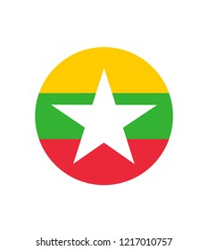 Myanmar or Burma flag. original and simple Union of Myanmar or Burma flag isolated vector in official colors and Proportion Correctly The Myanmar or Burma is a member of Asean Economic Community (AEC)