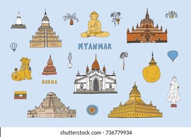 Myanmar Burma travel destinations doodle vector illustrations