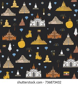 Myanmar Burma travel destinations doodle illustrations objects seamless vector pattern