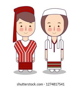 Myanmar Burma wedding Couple, cute Indonesian traditional clothes costume bride and groom cartoon vector illustration flat