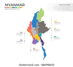 Myanmar country map infographic colored vector template with regions and pointer marks