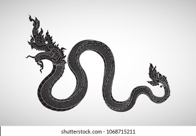 Myanmar Dragon, Hand Draw, illustration, tatoo, Asia style