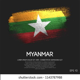 Myanmar Flag Made of Glitter Sparkle Brush Paint Vector
