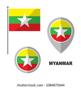 Myanmar flag and map pointer isolated on white background. Republic of the Union of Myanmar national symbol. Vector flat design collection.