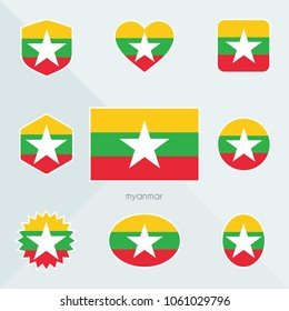 Myanmar flag. National flag of Myanmar. Myanmar vector flag button. Myanmar independence day.