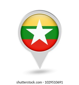 Myanmar Flag Round Pin Icon. Vector icon.
