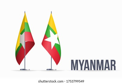 Myanmar flag state symbol isolated on background national banner. Greeting card National Independence Day of the Republic of the Union of Myanmar. Illustration banner with realistic state flag.