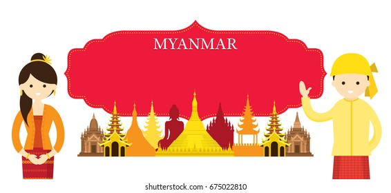 Myanmar Landmarks and people in Traditional Clothing, Culture, Travel and Tourist Attraction