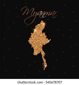 Myanmar map filled with golden glitter. Luxurious golden glitter map of Myanmar with golden glitter texture, sparkles and stars. Vector illustration.