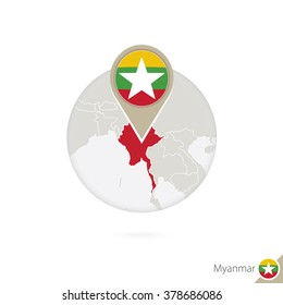 Myanmar map and flag in circle. Map of Myanmar, Myanmar flag pin. Map of Myanmar in the style of the globe. Vector Illustration.