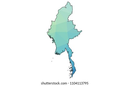 myanmar map in geometric polygonal style. myanmar map of isolated. Vector Illustration Eps10.