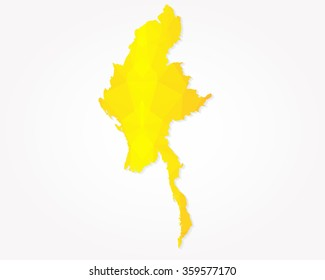 Myanmar map golden geometric background