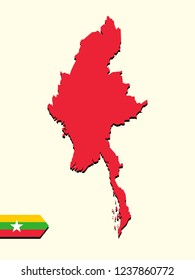 Myanmar map with national flag decoration