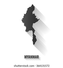 Myanmar map,vector long shadow icon