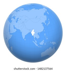 Myanmar on the globe. Earth centered at the location of the Republic of the Union of Myanmar. Map of Burma. Includes layer with capital cities.