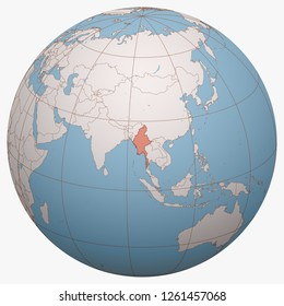 Myanmar on the globe. Earth hemisphere centered at the location of the Republic of the Union of Myanmar. Burma map.