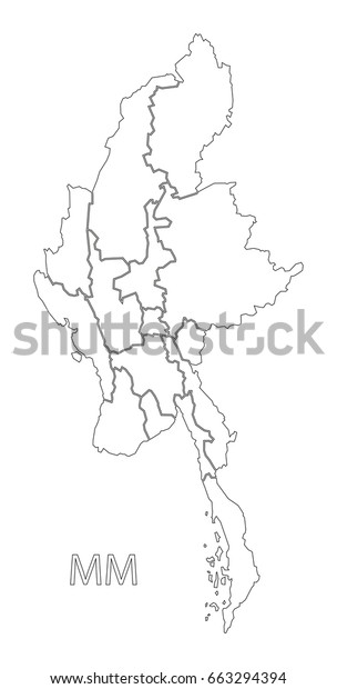 Myanmar states outline silhouette map illustration with black shape
