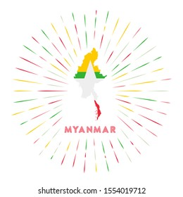 Myanmar sunburst badge. The country sign with map of Myanmar with Myanmarian flag. Colorful rays around the logo. Vector illustration.