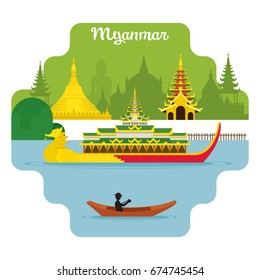 Myanmar Travel and Attraction Landmarks, Famous Place, Cityscape, Lake and Land