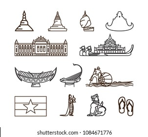 Myanmar Travel Land Mark, Vector, Illustration, Icon Set.
