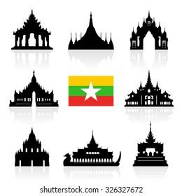 Myanmar Travel Landmarks. Vector and Illustration