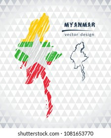 Myanmar vector map with flag inside isolated on a white background. Sketch chalk hand drawn illustration