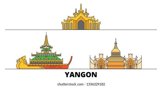Myanmar, Yangon line city with famous travel sights, skyline, design.