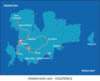 Mykonos Island Vector Map Greece. This is a very detailed map of Mykonos Island in Greece Aegean sea. It has a layer with roads and major cities.