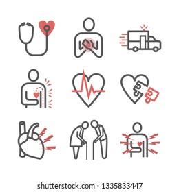 Myocardial infarction line icon. Symptoms, Treatment. Vector signs