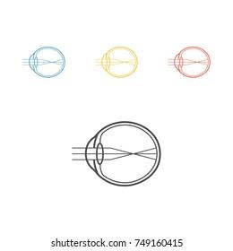 Myopia line icon. Eyeball sign. Vector illustration for websites