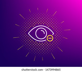 Myopia line icon. Halftone pattern. Eye diopter sign. Optometry vision symbol. Gradient background. Myopia line icon. Yellow halftone pattern. Vector