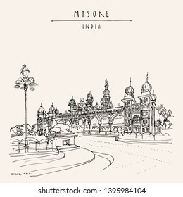 Mysore (Mysuru), Karnataka, India. Mysore palace. Travel sketch. Vintage hand drawn postcard template. Vector